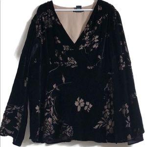 ECI black velvet and mesh floral overlay V-neck